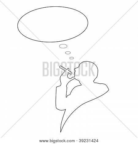 Man With Cigarette And Cloud For Text Vector