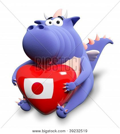Blue Dragon And Big Heart With Japanese Flag, Isolated On White