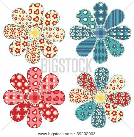 Conjunto de quatro flores de colcha