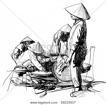 Vector illustration of a market scenery in Vietnam