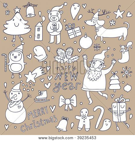 Christmas �¢�?�? New year cute cartoon vector set. Santa, Snowman and other funny animals and holiday elements