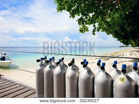 Compressed air tanks prepared for diving trip