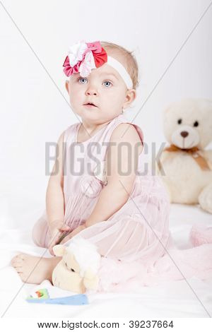 Pretty Little Baby Girl In Pink Dress