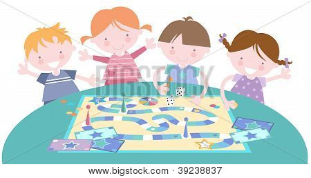 Kids With Board Game