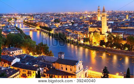 Night view of Verona city. Italy