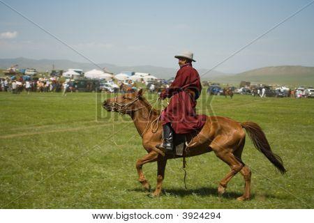 Mongolian Rider Finishes Horse Race