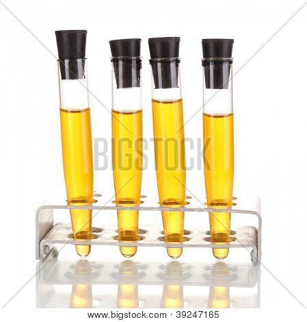 Test-tubes with yellow liquid isolated on white