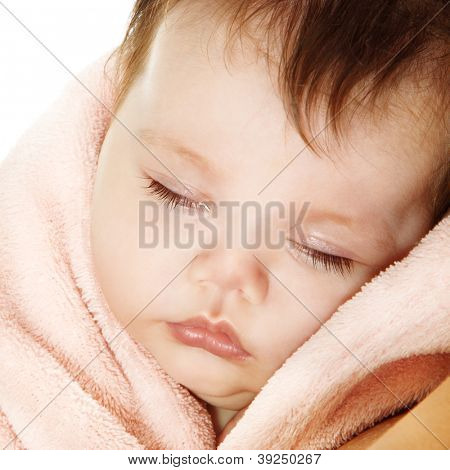 cute sleeping baby, beautiful kid's face closeup, studio shot
