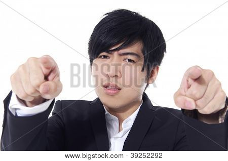young business man touching an imaginary screen or button on white background