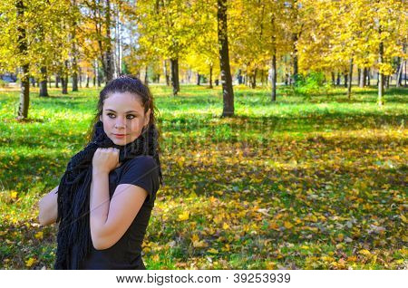 Young Attractive Woman Walking In The Park Woman Walking In The Park