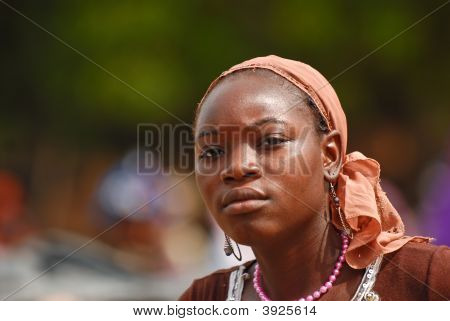 African Teenage Girl With Pink Necklace