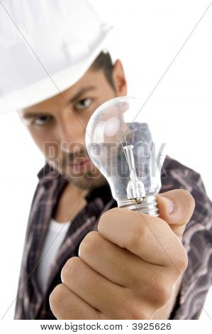 Young Architect Showing Electric Bulb