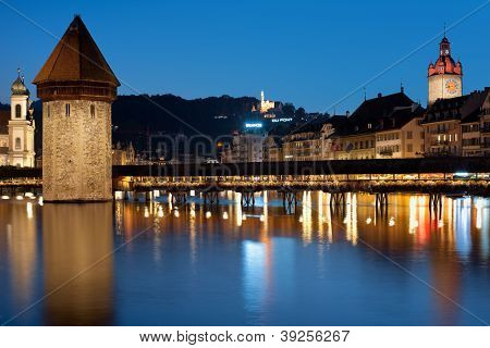 Chapel Bridge In Luzern At Night