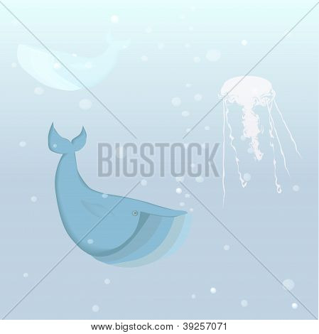 Whale And Jellyfish In The Ocean