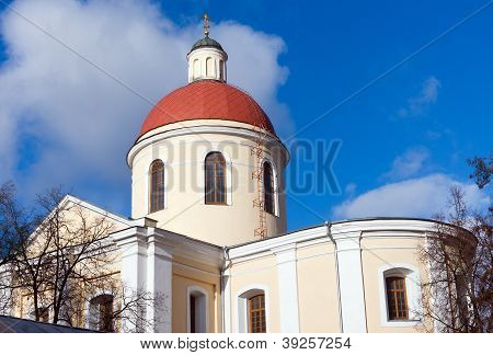 Church Tower Under A  Blue Sky
