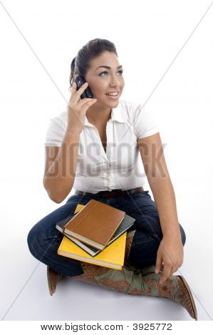 Young Student Busy On Phone Call