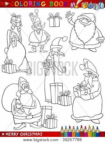Cartoon Christmas Themes For Coloring Book