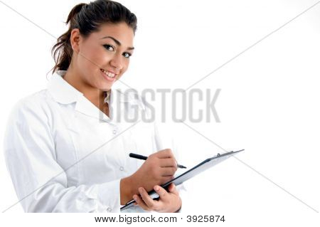 Smiling Doctor With Writing Board