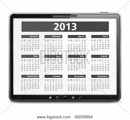 Tablet PC with 2013 Calendar