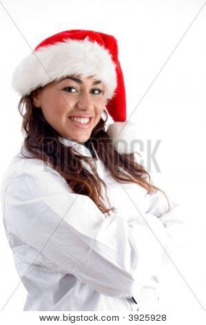 Smiling Young Woman Wearing Christmas Hat