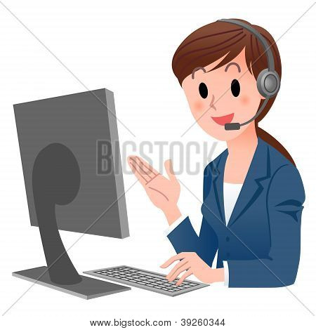 Customer Service Representative At Computer In Headset