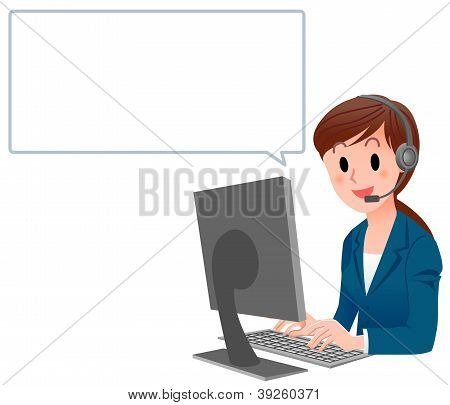 Customer Service Woman In Suit At Computer With Speech Bubble