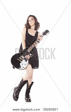 Rock Girl Playing Guitar