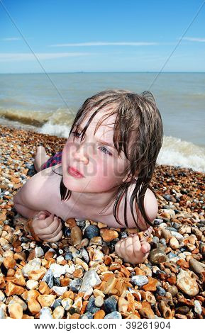 Child Beach Sunbathing Relaxing