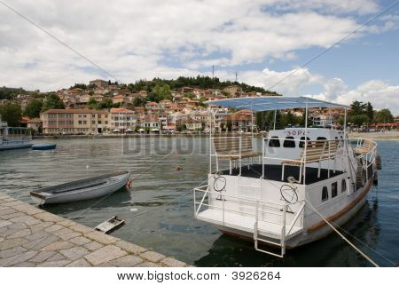 Ohrid City General View From The Port Balkan Peninsula