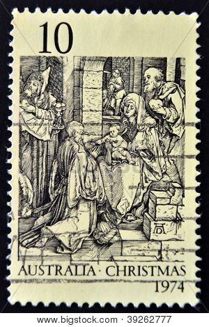 AUSTRALIA - CIRCA 1974: A Stamp printed in Australia shows the Adoration of the Kings by Durer circa