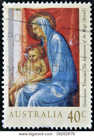 AUSTRALIA - CIRCA 1994: stamp printed in Australia shows The Adoration of the Magi (detail) by Tosca