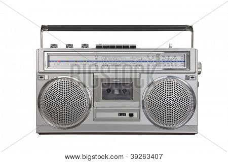 Vintage ghetto blaster portable stereo isolated with clipping path.