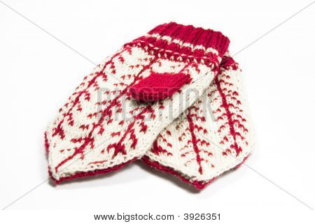 Two Mitten On White