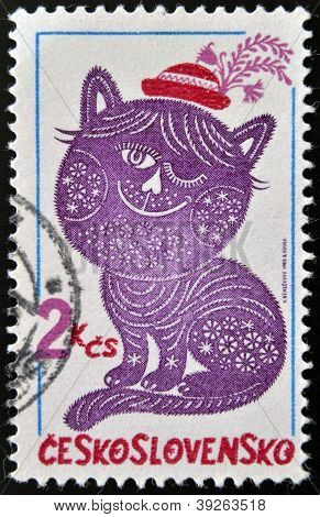 CZECHOSLOVAKIA - CIRCA 1980: A stamp printed in Czechoslovakia shown Folktale character embroideries
