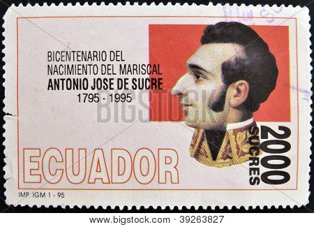 ECUADOR - CIRCA 1995: A stamp printed in Ecuador shows Antonio Jose de Sucre circa 1995