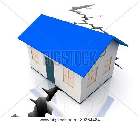 Blue Roof House On Crack Shows Disaster