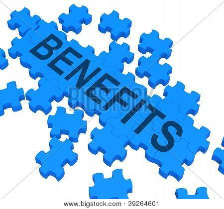 Benefits Puzzle Shows Company Rewards