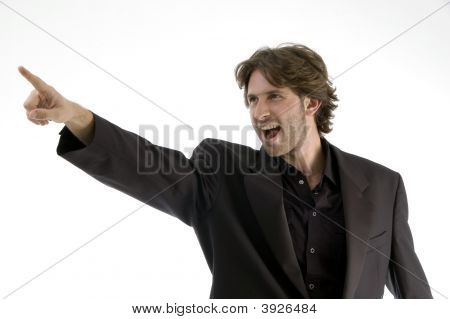 Shouting Man Pointing Sideways