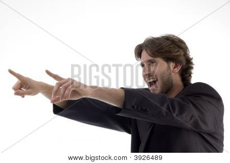 Shouting Young Man Pointing Sideways