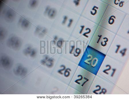 Calendar, computer screen. Close up.