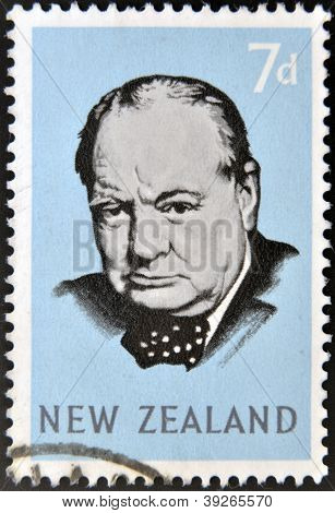 NEW ZEALAND - CIRCA 1965: stamp printed in New Zealand shows Sir Winston Churchill circa 1965