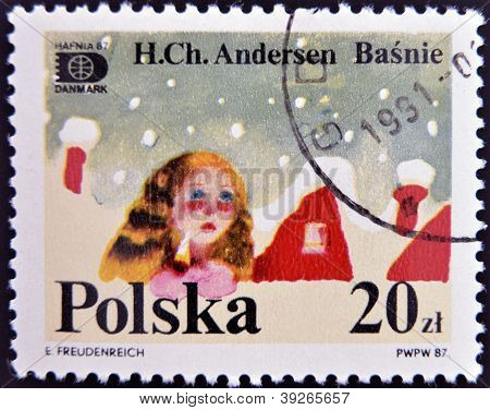 POLAND - CIRCA 1987: A stamp printed in Poland dedicated to tales of Hans Christian Andersen circa 1