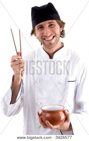 Happy Chef Holding Bowl And Chopsticks