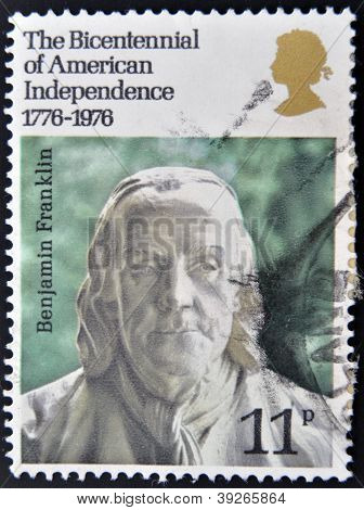 UNITED KINGDOM - CIRCA 1976: A stamp printed in Great Britain shows Benjamin Franklin circa 1976