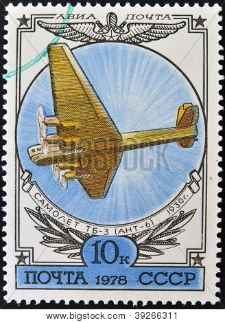 A stamp printed in Russia shows the Airplane TB-3 (ANT-6)