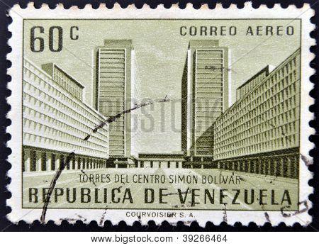 A stamp printed in Venezuela shows Simon Bolivar Centre Caracas