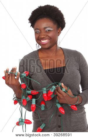 Pretty black girl ready for Christmas