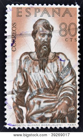 SPAIN - CIRCA 1962: A stamp printed in Spain shows Apostol sculpture by Alonso de Berruguete circa 1