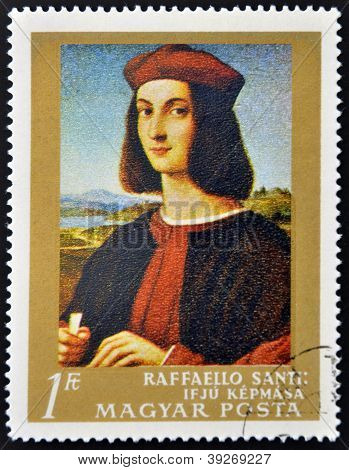 HUNGARY - CIRCA 1984: stamp printed in Hungary shows the Self-portrait by Raphael circa 1984