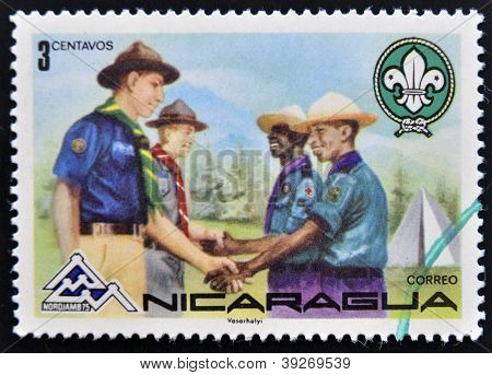 NICARAGUA - CIRCA 1975: A stamp printed in Nicaragua shows meeting between boy scout groups circa 19